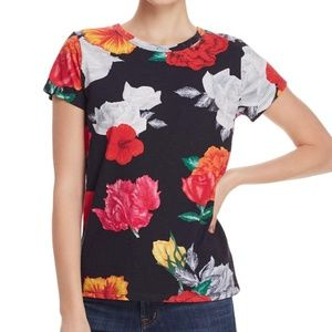 Pam & Gela Distressed Multicolor Floral T-Shirt XS